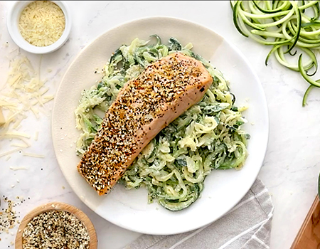 Image of Everything Salmon with Cheesy Zoodles